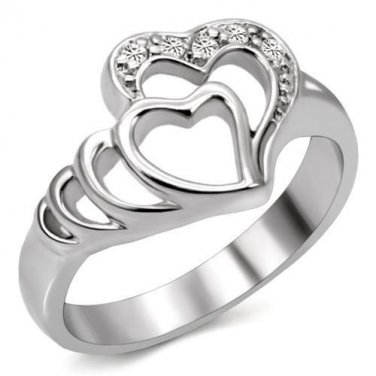 Stainless Steel Heart In Heart Promise Ring With Clear CZ