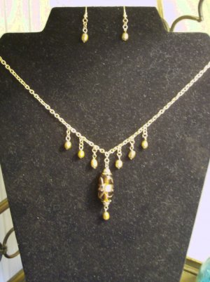 Gold Pearl and Glass pendant