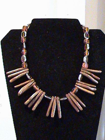 Gold Tube Coral Necklace
