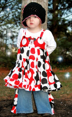 Minnie Patchwork dress and ruffle pants sz 18-24 2T 3T