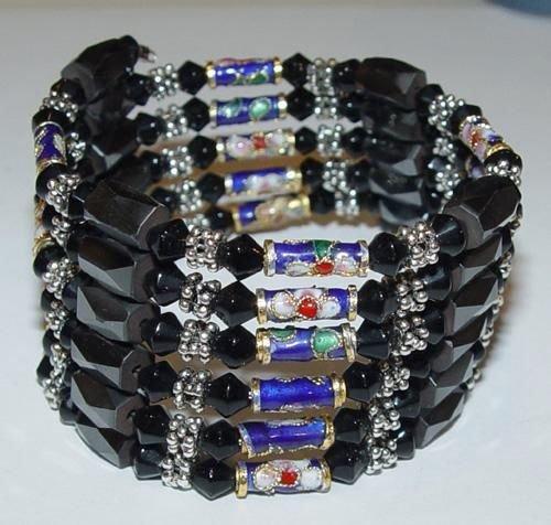 Black Crystal Magnetic Cloisonnette Hemetites 36'' Necklace/Bracelet