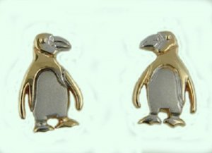 14 kt Gold Penguin Earrings