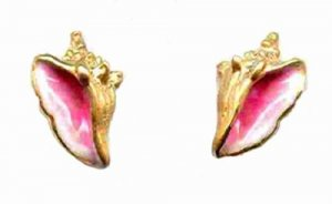 Enamel 14 kt Gold Conch Post Earrings