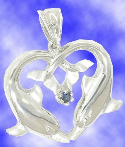 Genuine Sapphire Sterling Silver Heart Dolphins Necklace