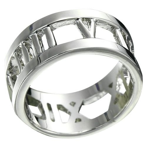 Rhodium Plated Roman Numerals Ring NEW UNIQUE