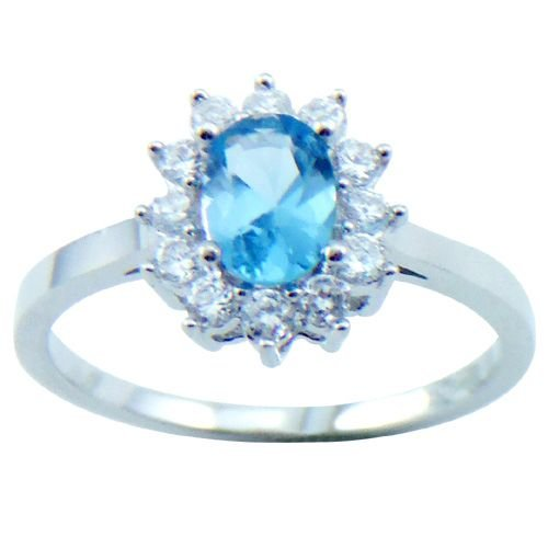 18K White Gold Plated Oval Blue Topaz Color CZ Ring