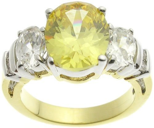 18K Gold Plated Brass Yellow Topaz Ring
