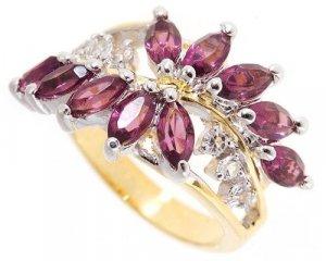Flower 3.5 ct created Amethyst diamond CZ ring