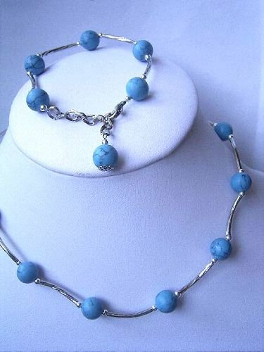 10mm blue turquoise necklace bracelet Set