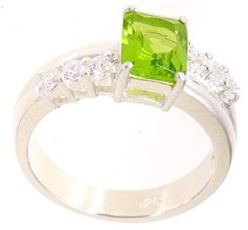 18K Gold Plated .925 Sterling Silver Peridot CZ Ring