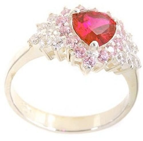 18k Gold Plated .925 Silver Heart Ruby CZ Love Ring