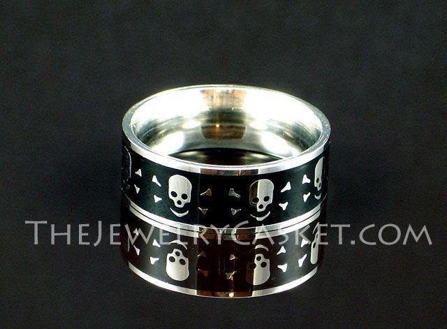 Grinning Skull Steel Ring ~ Sizes 9 - 12