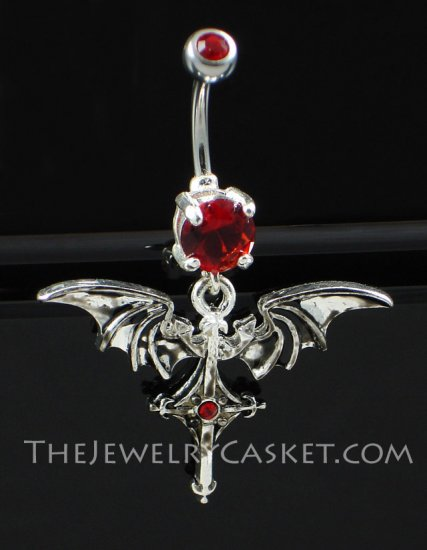 Bat Winged Cross Ruby Crystal Navel Jewelry
