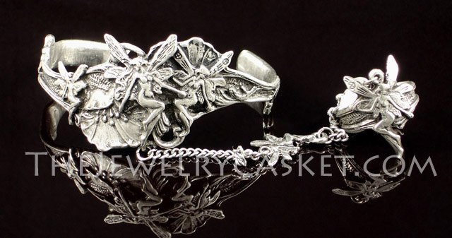 Fairy Trio Pewter Slave Bangle