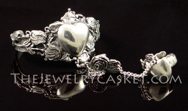 Heart and Roses Pewter Slave Bangle