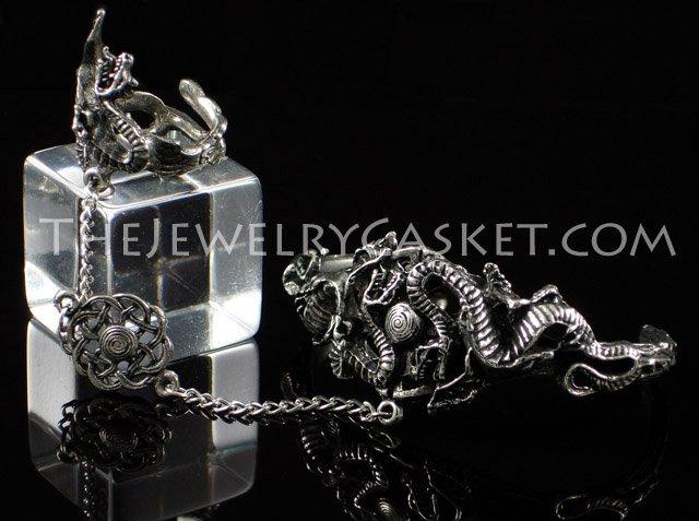 Dual Dragons Slave Bangle ~ Bracelet w/ Ring
