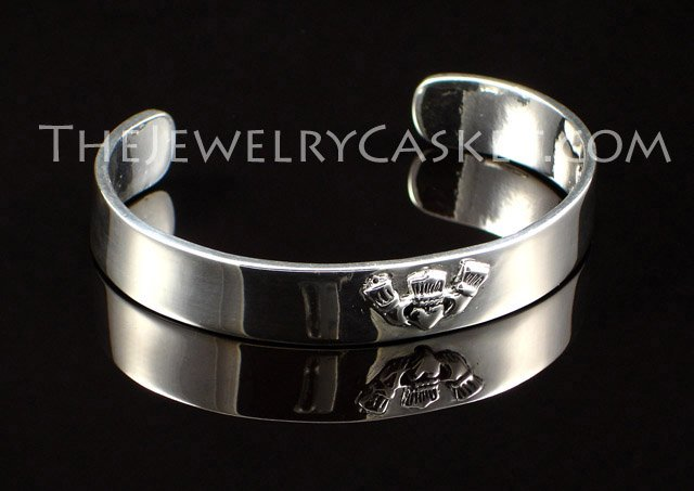 Claddagh Bangle ~ High Polish Pewter Bracelet