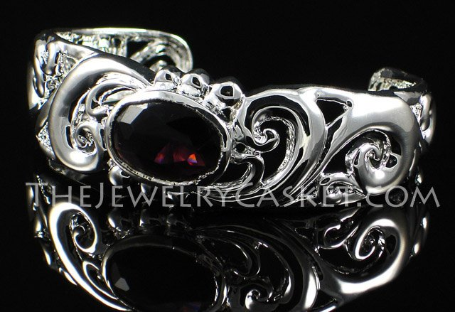 Scrollwork with Purple CZ Bangle