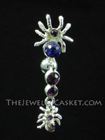 Reverse-Style Amethyst Crystal Spiders Navel Jewelry