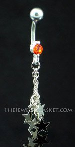 7 Stars ~ Jet Crystal Belly Ring
