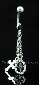 Double Cross ~ Jet Crystal Belly Ring