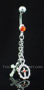 Double Cross ~ Pumpkin Crystal Belly Ring