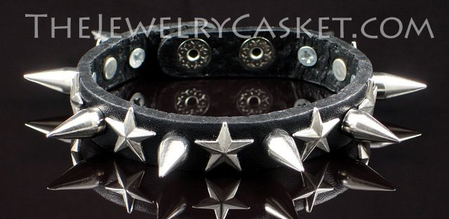 Stars & Spikes ~ Black Leather Wristband