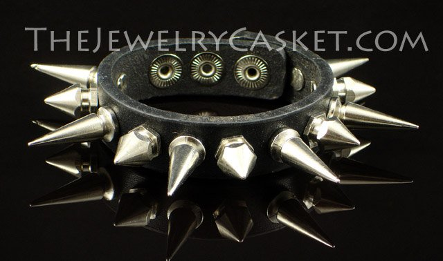 Alternating Spikes ~ Black Leather Wristband