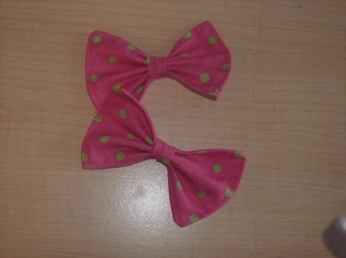 Pink Polka Dot Bows (PAIR)