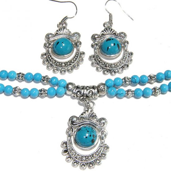 Tibetan Style Turquoise Bracelet & Earring Set - China
