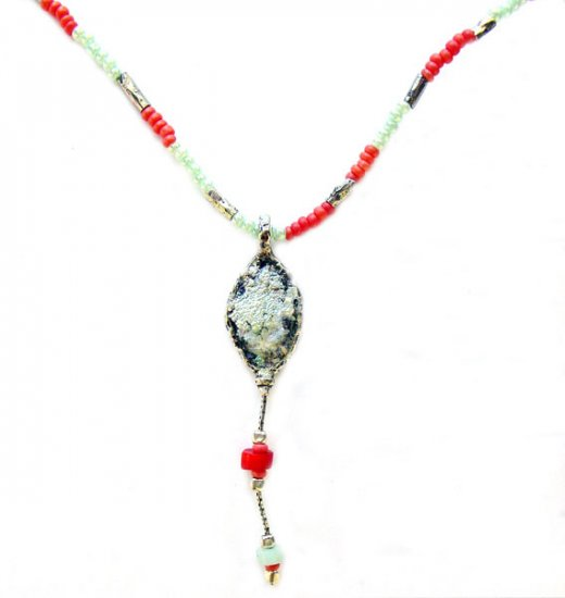 Coral and Roman Glass Necklace - Israel