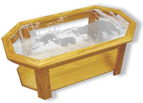 Etched Glass - Bear Feet in Creek - Solid Oak Coffee Table - Octagon