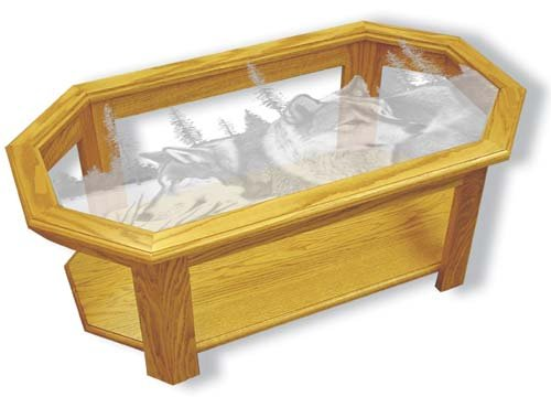 "Etched Glass - Wolves - ""Blue Morning Trackers"" Solid Oak Coffee Table - Octagon"