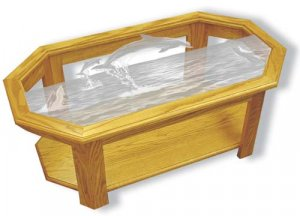 Etched Glass - Dolphins- Solid Oak Coffee Table - Octagon