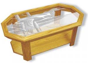 Etched Glass - Lake Mallards- Solid Oak Coffee Table - Octagon - Ducks