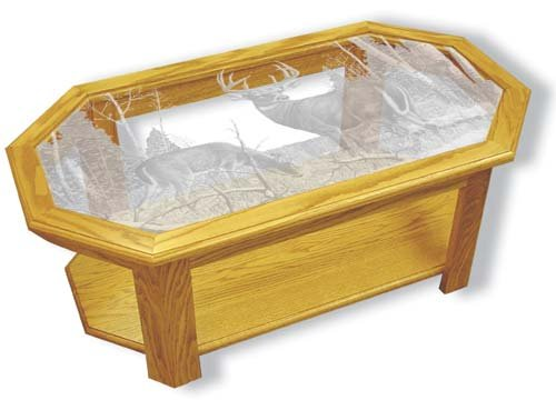 Etched Glass - Standing Guard Deer - Solid Oak Coffee Table - Octagon