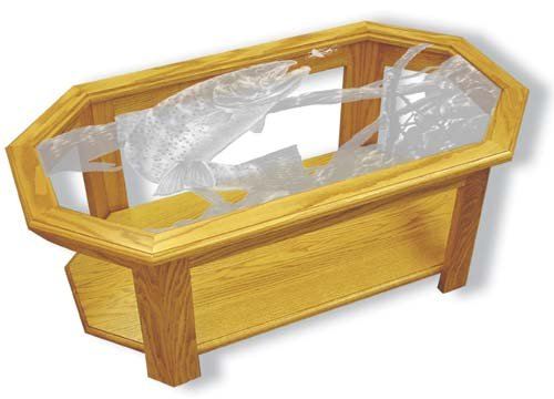 Etched Glass - Swim Meet Trout - Solid Oak Coffee Table - Octagon