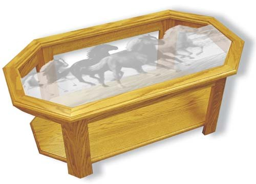 Etched Glass - Horses - Surfsters - Solid Oak Coffee Table - Octagon