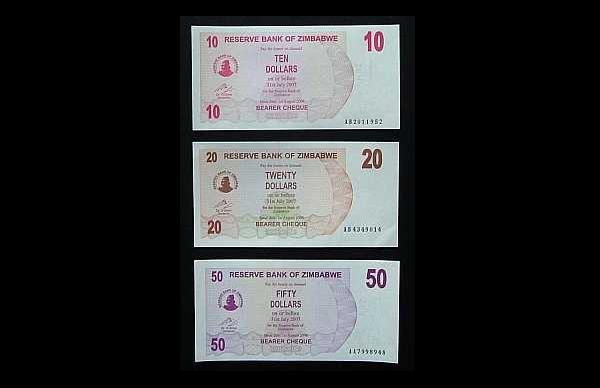 SET OF THREE ZIMBABWE BANKNOTES 2006 10 20 AND 50 DOLLARS