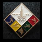 OLYMPICS MOSCOW 1980 FIVE SPORTS DIAMOND SHAPE PIN BADGE