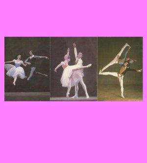 SET OF THREE RUSSIAN BALLET RUSSIAN LANGUAGE CALENDAR CARDS 1988