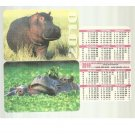 PAIR OF UKRAINIAN RUSSIAN LANGUAGE HIPPOPOTAMUS CREDIT CARD SIZE CALENDAR CARDS 2010