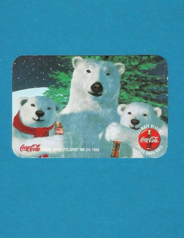 COCA COLA POLAR BEARS POLISH LANGUAGE ADVERTISING CALENDAR CARD 1999