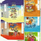 SET OF FIVE FLINTSTONES 15gr CHOCOLATE WRAPPERS FROM GUNZ OF AUSTRIA