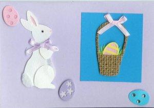Easter Bunny, Eggs & a Basket Card