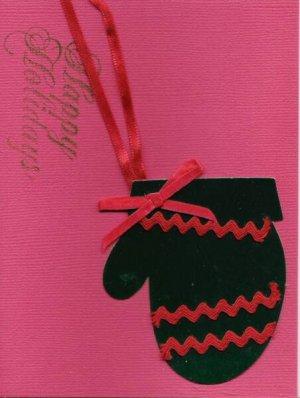 Happy Holidays Winter Mitten Card-Red