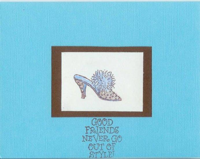 Chocolate & Tiffany Blue Shoe Friend Card
