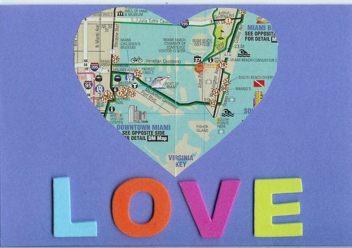Map Heart Love Card