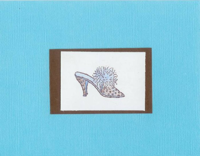 Chocolate & Tiffany Blue Shoe Card