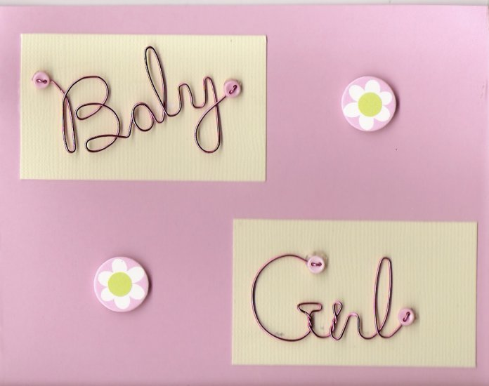 Wire Baby Girl Card